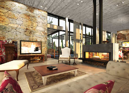 Interior Living Principal: Livings de estilo moderno por Estudio JP