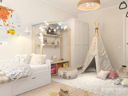 scandinavian Nursery/kid's room by Мастерская дизайна Welcome Studio
