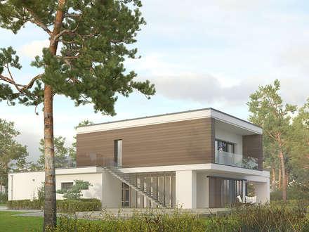 Elewacja ogrodowa projektu Asteria: styl nowoczesne, w kategorii Domy zaprojektowany przez Biuro Projektów MTM Styl - domywstylu.pl