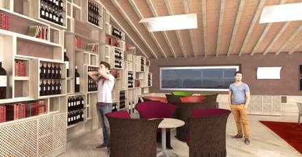 La parete espositiva per vini - The winery wall: Cantina in stile in stile Rustico di Planet G