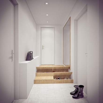 minimalistic Corridor, hallway & stairs by YOUR PROJECT