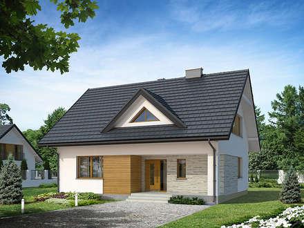 Elewacja frontowa projektu Indygo 4: styl nowoczesne, w kategorii Domy zaprojektowany przez Biuro Projektów MTM Styl - domywstylu.pl