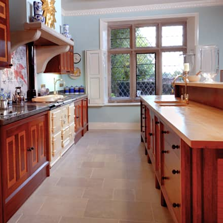 Brazilian Mahogany and Satinwood Kitchen in The Close, Salisbury by Tim Wood: colonial Kitchen by Tim Wood Limited