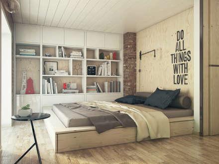 Dormitorios de estilo industrial por The Goort