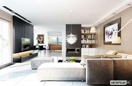Projekt domu Liv 3 G2 | salon : styl , w kategorii Salon zaprojektowany przez Pracownia Projektowa ARCHIPELAG