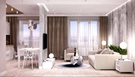 Белый лофт: Гостиная в . Автор – QUADRUM STUDIO