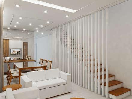 Residência 4x22: Corredores, halls e escadas modernos por Merlincon Prestes Arquitetura