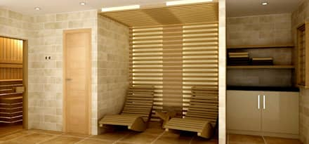Interior Design for a client's house, sauna extension and patio. Peterborough, UK: eclectic Spa by Lena Lobiv Interior Design