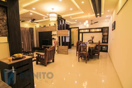 Living cum dining concept: asian Living room by Bonito Designs Bangalore