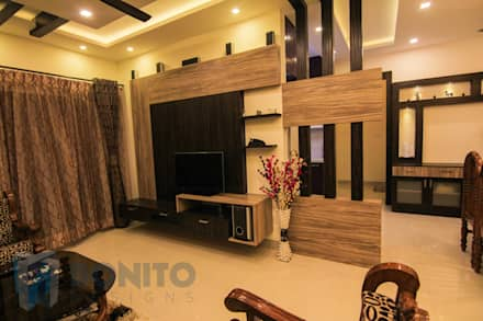 Living Tv unit design: asian Living room by Bonito Designs Bangalore