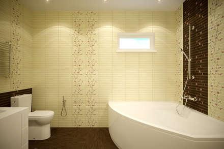 """Дизайн санузла 1 этажа в коттеджном поселке """"Бавария"""": Ванные комнаты в . Автор – Студия интерьерного дизайна happy.design"""