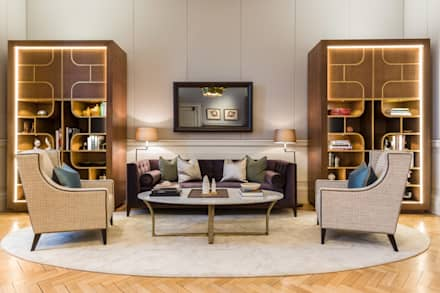 Bespoke joinery units set in each corner frame the reception space:  Commercial Spaces by Goddard Littlefair