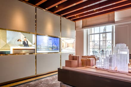 The self-supporting room structure is made of steel, brass & timber:  Commercial Spaces by Goddard Littlefair