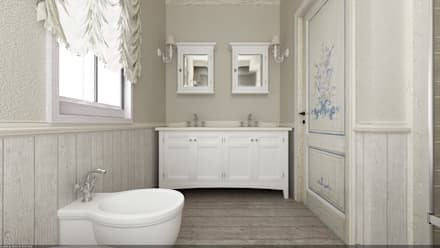 Villa AG Restyling - Esterno: Bagno in stile in stile Eclettico di De Vivo Home Design