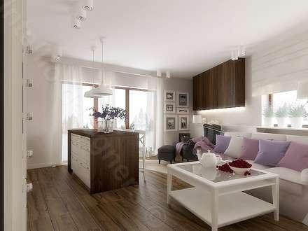 Salon z aneksem kuchennym: styl , w kategorii Salon zaprojektowany przez Intellio designers