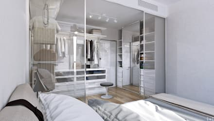minimalistic Dressing room by 1+1 studio