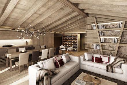 rendering interni stile rurale: Soggiorno in stile In stile Country di Avogadri simone archi3d