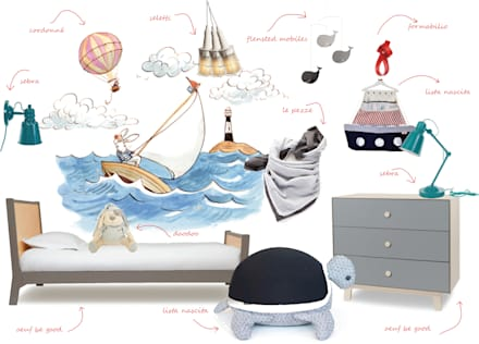 Cameretta ispirata al mare : Stanza dei bambini in stile in stile Minimalista di amisuradibimbo