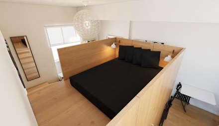 Micro Loft: Quartos minimalistas por José Tiago Rosa