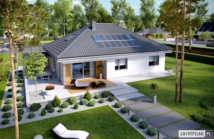Projekt domu Astrid (mała) G2 : styl nowoczesne, w kategorii Domy zaprojektowany przez Pracownia Projektowa ARCHIPELAG