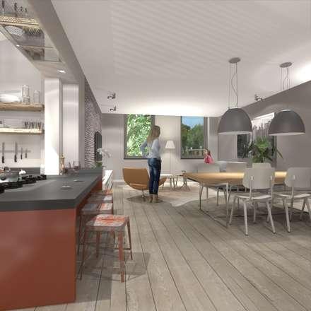 wonen in de ijzergieterij: industriële Eetkamer door architectenburo frans van roy
