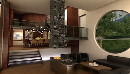 TREVINO CHABRAND Taller de Arquitectura: Salas de estilo moderno por TREVINO.CHABRAND   Architectural Studio