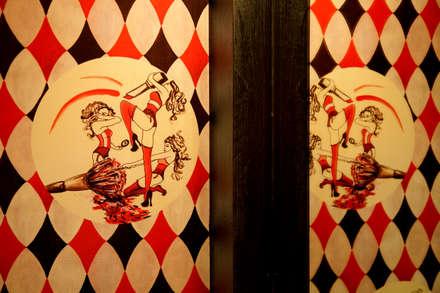 Bespoke wallpaper detail:  Bars & clubs by Rebecca James Studio
