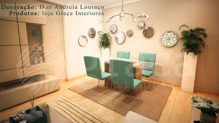 Projecto de Decoração sala by Andreia Louraço Design e Interiores: Salas de jantar modernas por Andreia Louraço (atelier.andreialouraco@gmail.com)