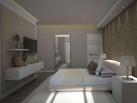 Propuesta 3D - Diseño de Habitaciones para Quinta Ubicada en Miami - Florida.: Cuartos de estilo moderno por Gabriela Afonso