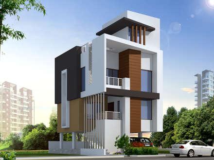 ROW HOUSE HAVING THREE BEDROOMS: modern Houses by Spacemekk Designers p.LTD