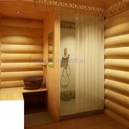Дизайн бани из бревна в русском народном стиле: Бассейн в . Автор – Дизайн студия 'Дизайнер интерьера № 1'