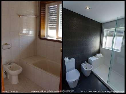 restauro de Apart. - Arqtos Ivo Amaro @ Jorge Machado: Casas de banho minimalistas por AreA7