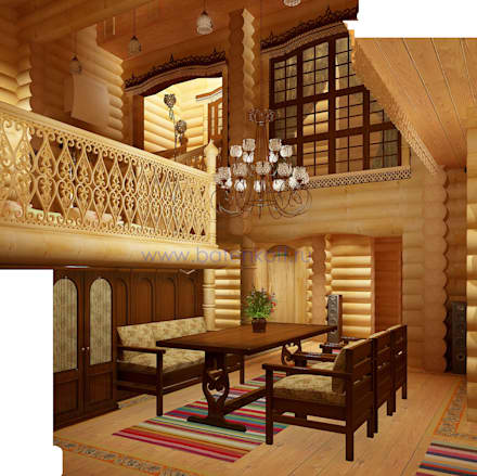 Дизайн интерьера бассейна в доме из цилиндрованного бревна: Спа в . Автор – Дизайн студия 'Дизайнер интерьера № 1'