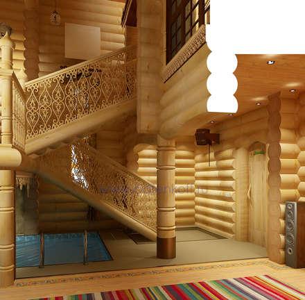 Дизайн интерьера бассейна в доме из цилиндрованного бревна : Спа в . Автор – Дизайн студия 'Дизайнер интерьера № 1'