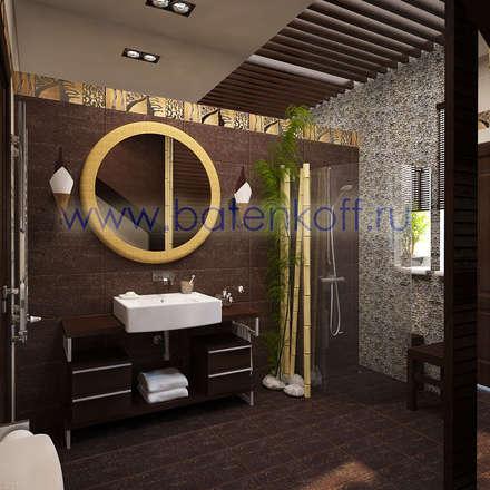Дизайн проект ванной комнаты в индокитайском стиле: Ванные комнаты в . Автор – Дизайн студия 'Дизайнер интерьера № 1'