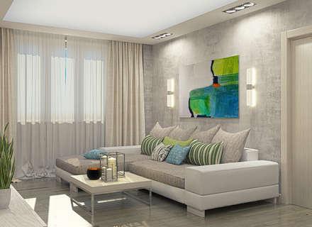 Eco loft in а 3-rooms flat: Гостиная в . Автор – Alena Gorskaya Design Studio