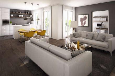 Wohnung in Frankfurt: skandinavische Wohnzimmer von winhard 3D