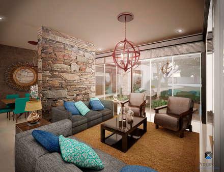 """Proyecto Arquitectónico """" Casa XC03""""       : Salas de estilo moderno por PORTO Arquitectura + Diseño de Interiores"""