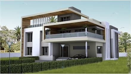 villa at pune modern houses by aca architects - Modern House Front View Design