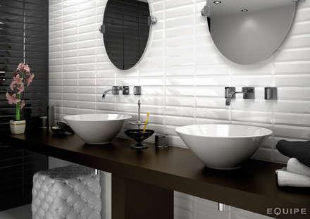 Metro White, Black 7,5x30: Baños de estilo moderno de Equipe Ceramicas