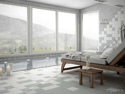 Area 15 White, Grey 15x15: Spa de estilo minimalista de Equipe Ceramicas
