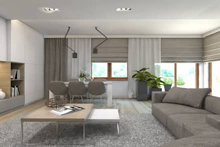 Projekt domu jednorodzinnego 7: styl , w kategorii Salon zaprojektowany przez BAGUA Pracownia Architektury Wnętrz