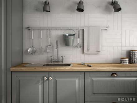 Dunas White Matt 6x24,6: Cocinas de estilo colonial de Equipe Ceramicas
