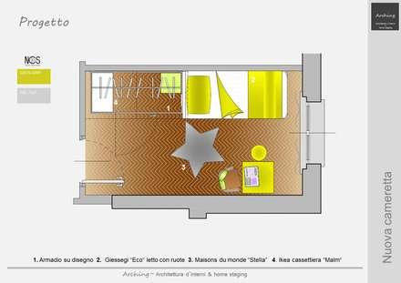 Il ranocchio e la casetta: Stanza dei bambini in stile in stile Moderno di Arching - Architettura d'interni & home staging