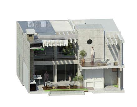 Vista Isometria corte 3d transversal.: Terrazas de estilo  por Eisen Arquitecto