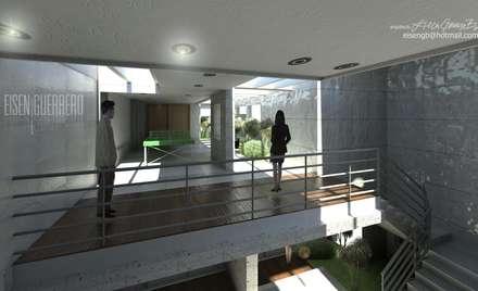Vista Aérea al terraza sala de juegos en piso 1. Vivienda Nº11. Mañongo 2014 - 2015.: Terrazas de estilo  por Eisen Arquitecto