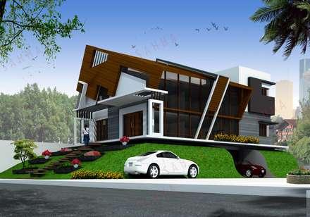 Ramchandra's villa at Bidadi: asian Houses by SAHHA archit ecture & interiors