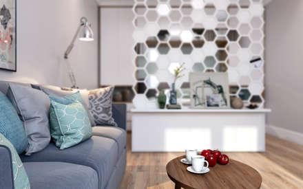 Медовая геометрия_гостиная в современном стиле: Гостиная в . Автор – CO:interior