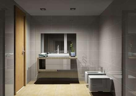 Cozinhas | Roupeiros | Moveis de banho: Casas de banho modernas por Amplitude - Mobiliário lda