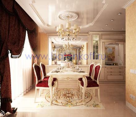Дизайн проект кухни в классическом стиле в квартире на Юмашева от Батенькофф: Столовые комнаты в . Автор – Дизайн студия 'Дизайнер интерьера № 1'